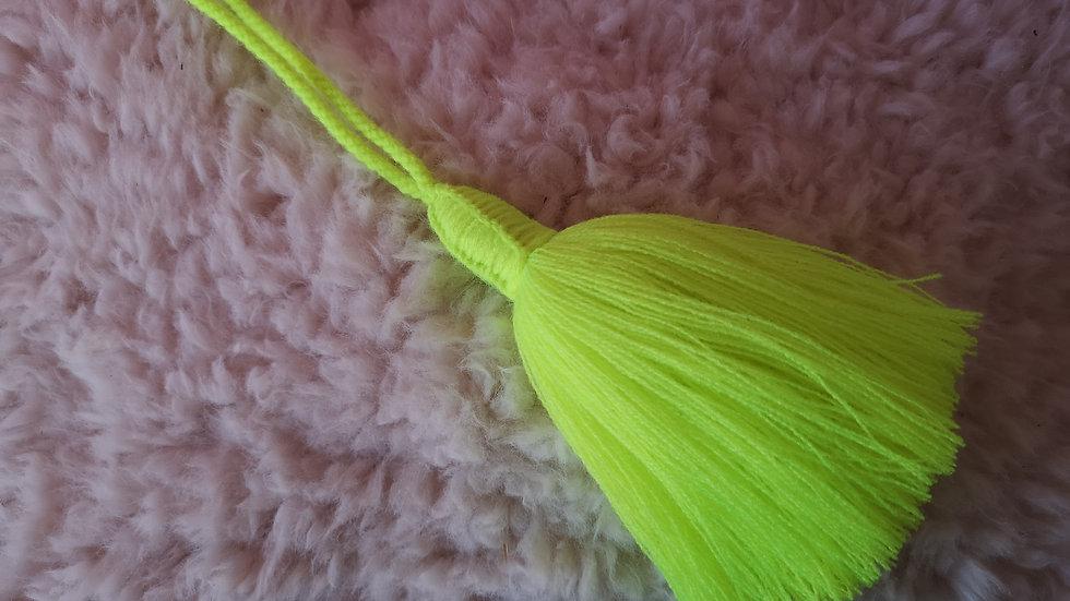 Pompon Beldi en laine jaune fluo
