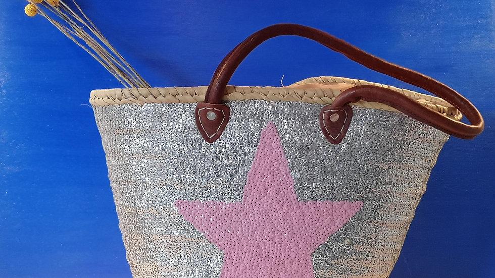 Cabas à sequins argenté et étoile rose