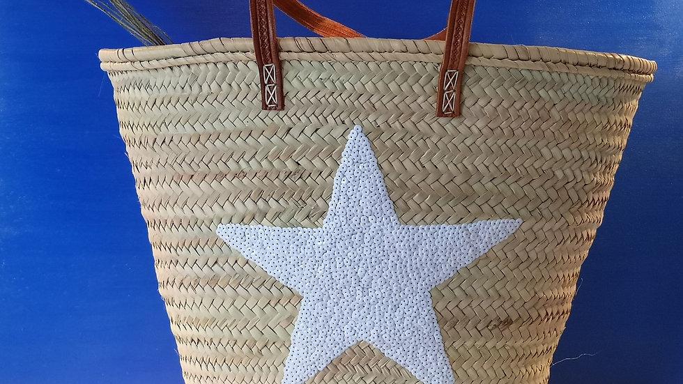 Grand cabas Étoile à sequins BLANC