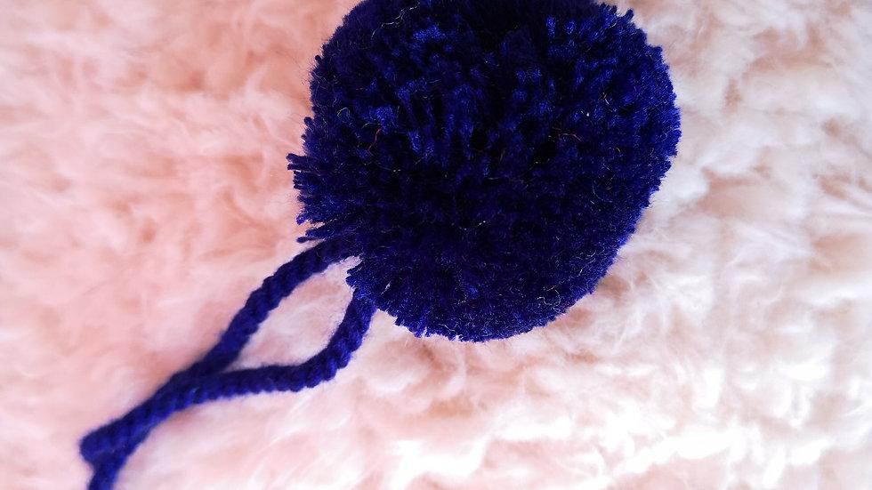 Pompon Boule en laine Bleu Majorelle