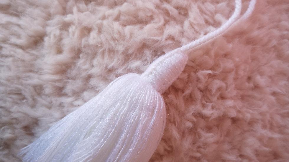 Pompon Beldi en laine blanc