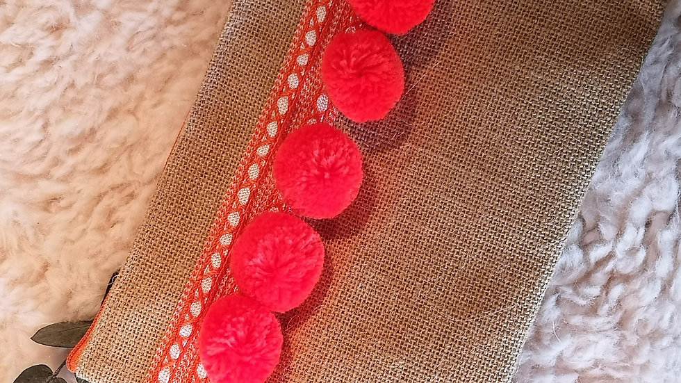 Pochette en toile de jute et pompons en laine ORANGE FLUO