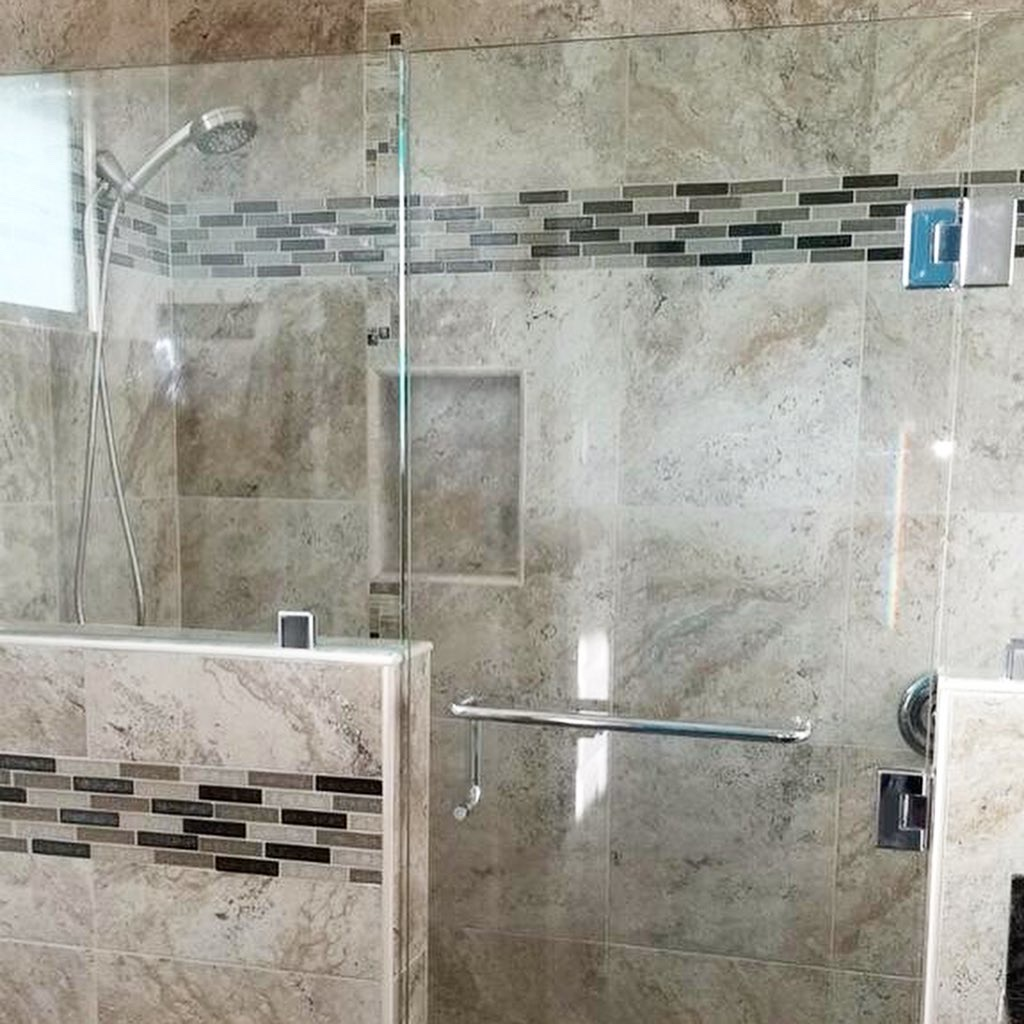 custom frameless inline shower enclosure