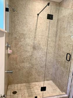 custom frameless inline  shower enclosure