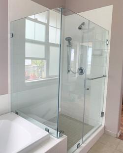 custom frameless 90 shower enclosure