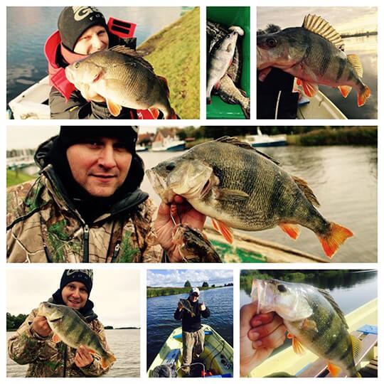 Foto montažas su žveju ir žuvimis