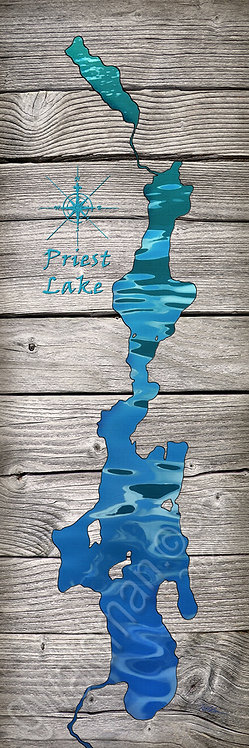 Priest Lake Map- Turquoise