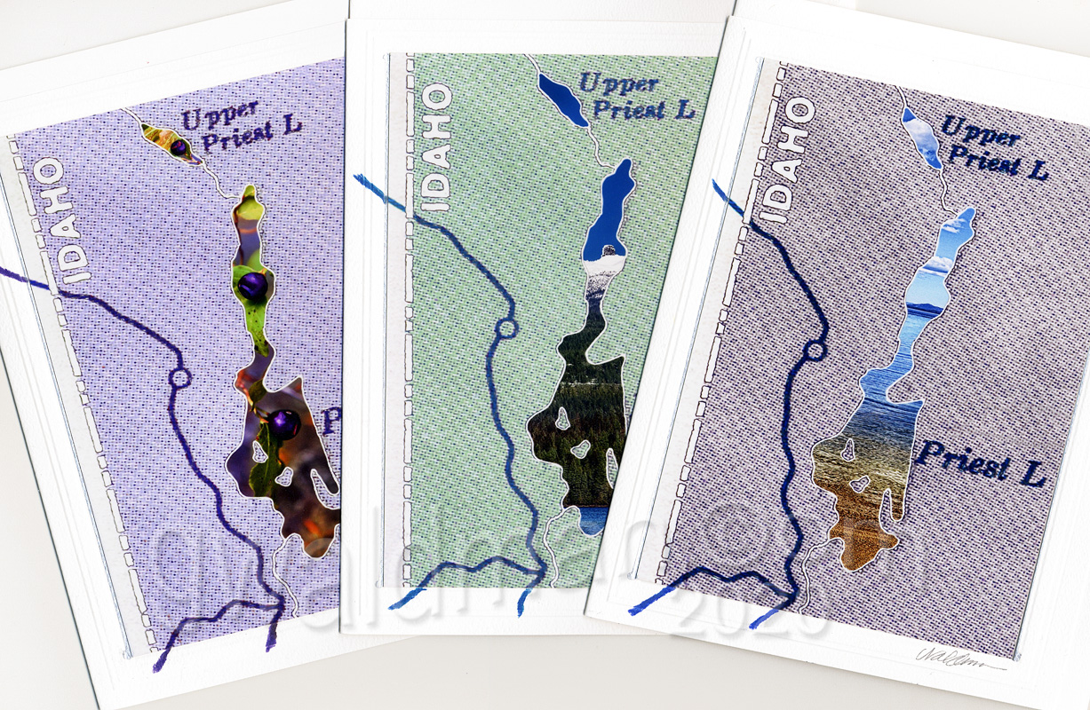 Priest Lake Road Map art cards