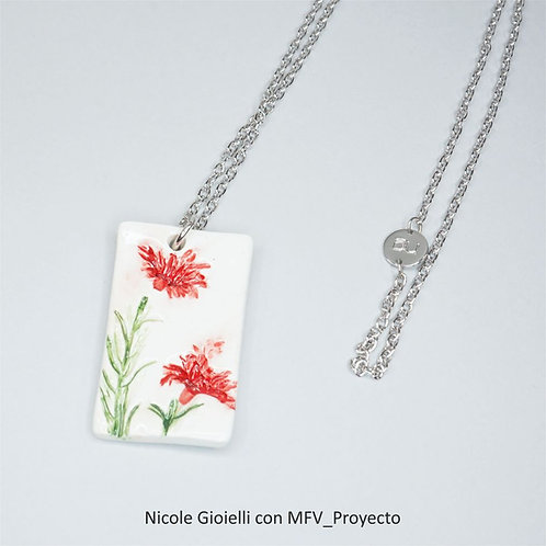 Collana ceramica fiori rossi