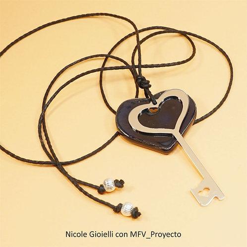 Collana chiave e cuore