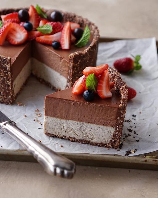 Raw Earl Grey Chocolate Cake with Buckwheat Crust