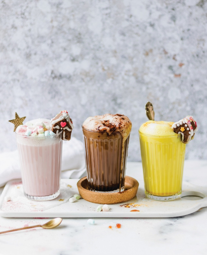 vegan lattes, golden milk, vegan hot chocolate