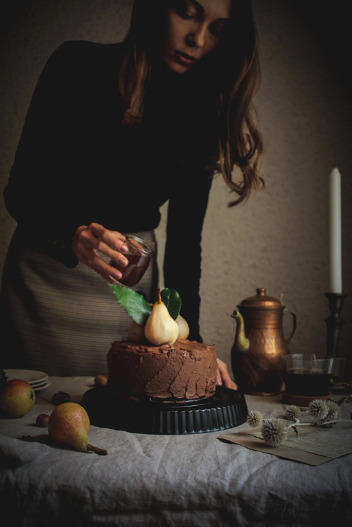 Vegan Chocolate Cake with Poached Pears and  Delicious Chocolate Frosting