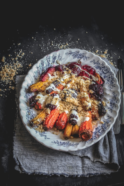 Roasted Carrots & Plums in Tahini-Chili Sauce with Crumble