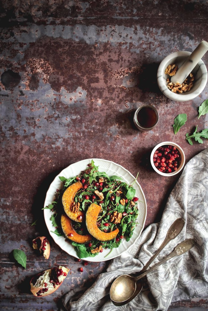 pumpkin salad, vegan recipes, pumpkin, fruit, arugula