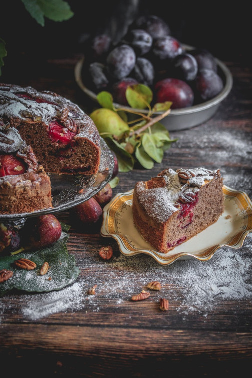 Cocoa Rum Cake with Figs, Plums and Pecans
