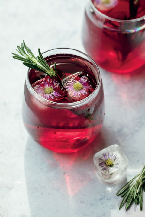Hibiscus Iced Tea with Homemade Rosemary Simple Syrup