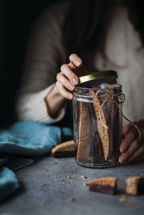 Chocolate-Dipped Olive Oil Biscotti