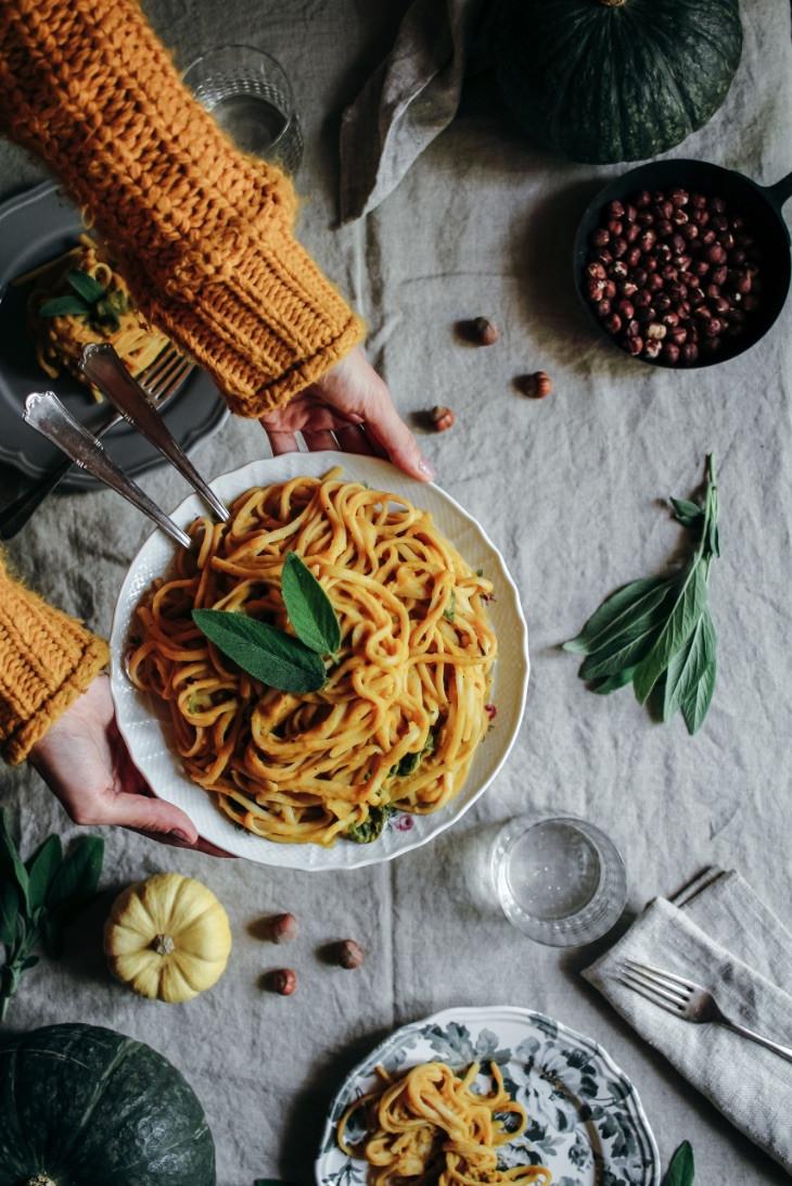 pumpkin pasta, vegan linguine, vegan recipe, pumpkin recipe, savory