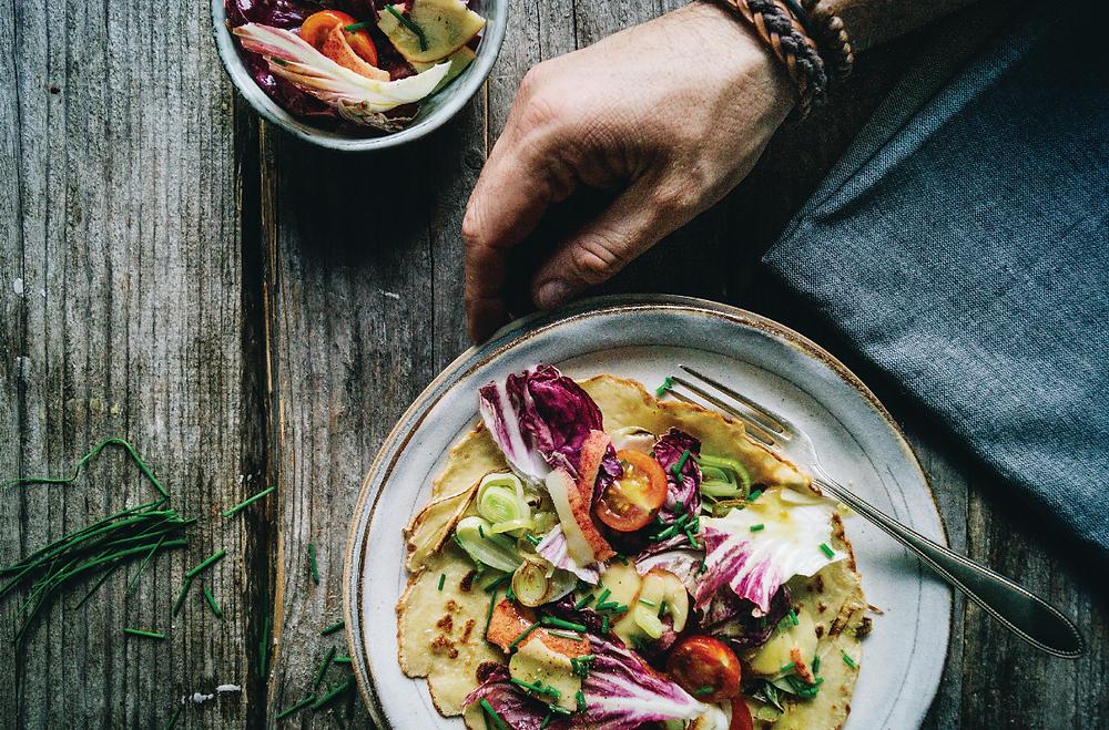 vegan recipe, leek, pancakes