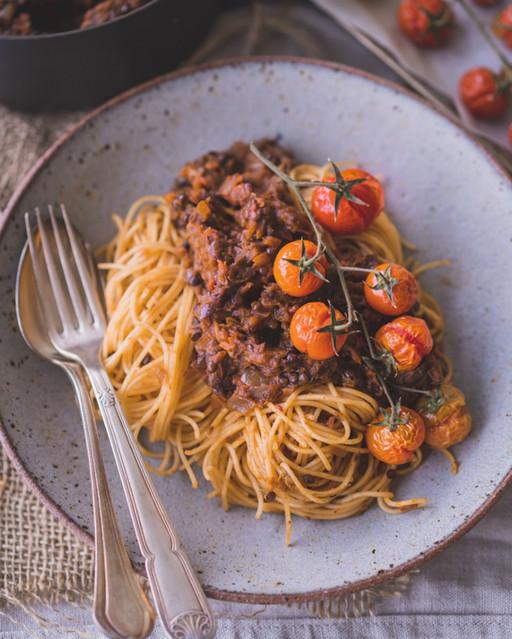 Black Lentil & Roasted Eggplant Bolognese