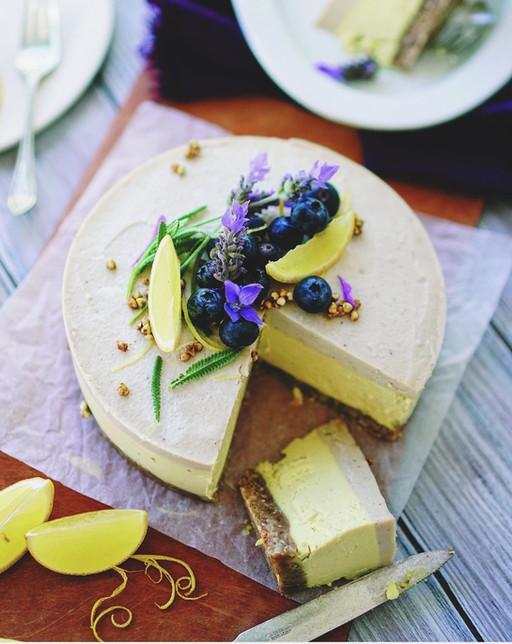 Lemon Lavender Cake with Cashew Cream