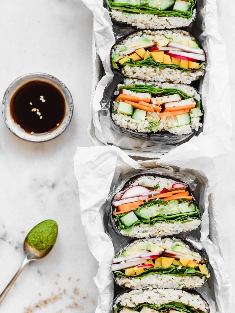 sushi sandwiches, vegan sushi recipe, vegan sushi