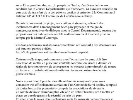 Non aux projets de l'A104 et du port industriel près du parc du Peuple de l'Herbe !