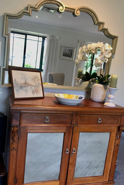 Classical mirror and sideboard