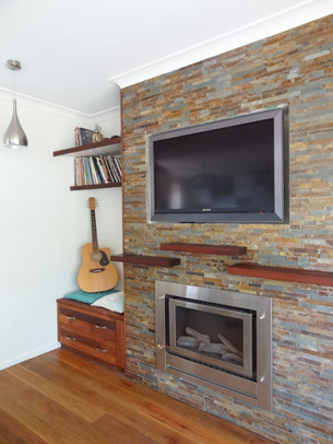 Stacker stone fireplace