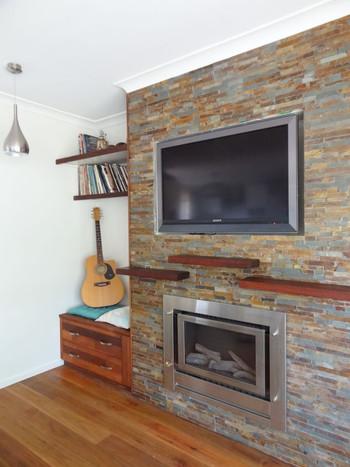 Stacker stone fireplace
