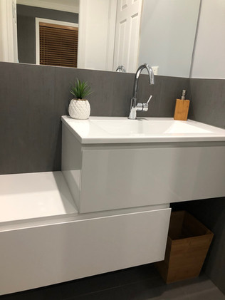 Contemporary offset vanity