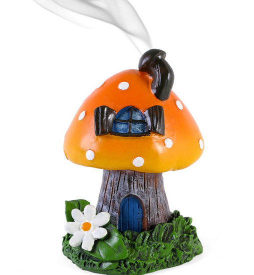 Orange Smoking Toadstool Incense Cone Holder By Lisa Parker