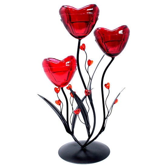Triple Hearts Flower Romantic Candleholder
