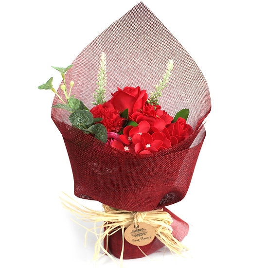 Standing Soap Flower Bouquet - Red