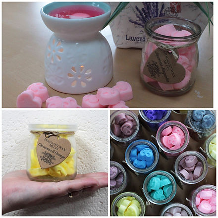 Hand made Soy wax melts presented in a glass jar