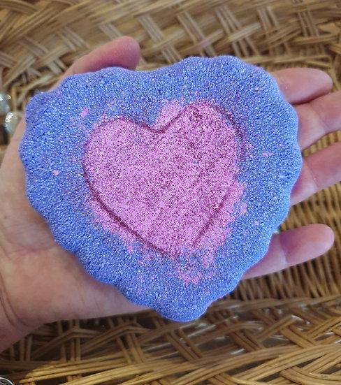 Pink & Purple Jumbo Heart Bath Bomb - Wow! Approx 240g