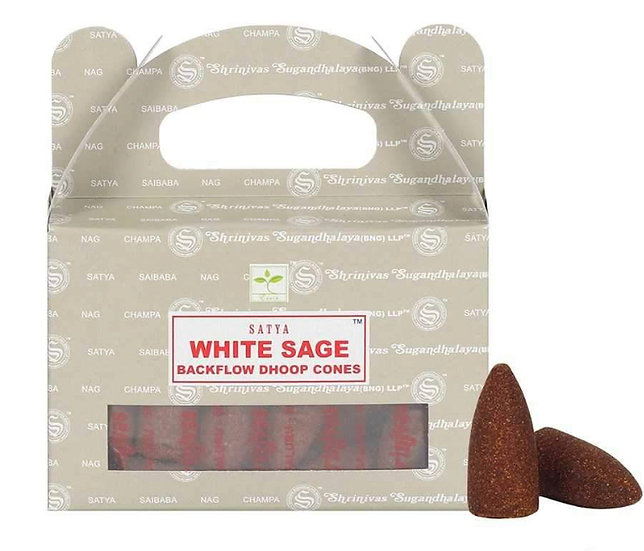Satya Backflow Dhoop Cones - White Sage (24pcs)