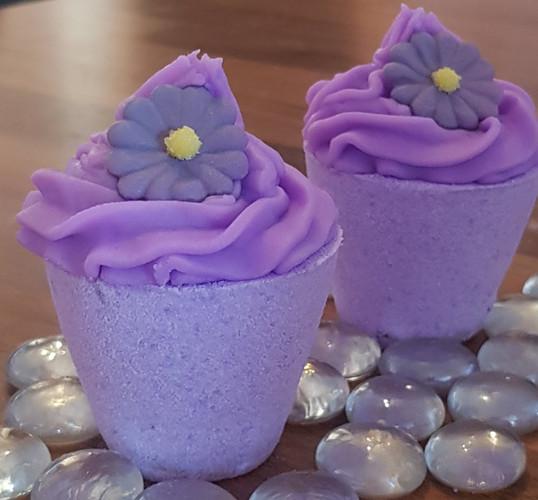 Purple flower pot bath bombs