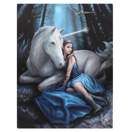 Blue Moon Canvas Plaque by Anne Stokes