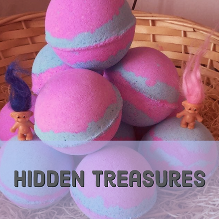 Hidden treasures toy inside bath bombs