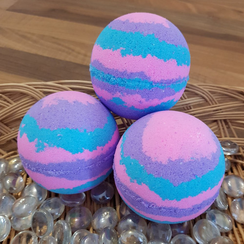 Multi coloured bath bomb