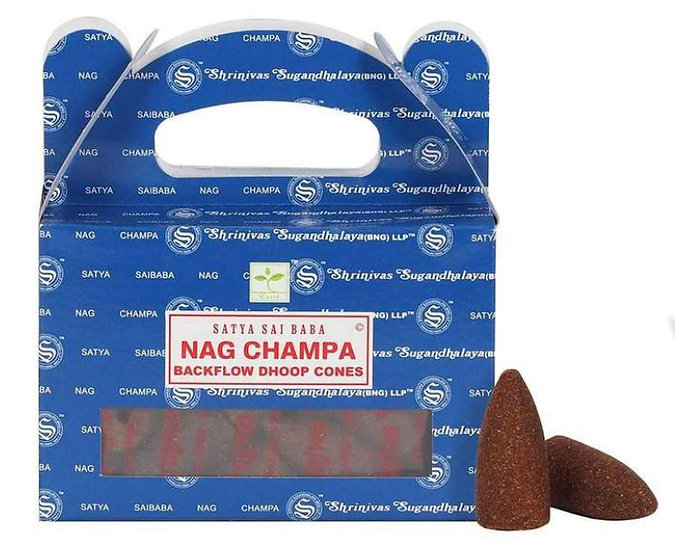 Satya Backflow Dhoop Cones - Nag Champa (24pcs)