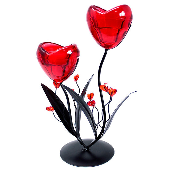 Twin Hearts Flower Romantic Candleholder