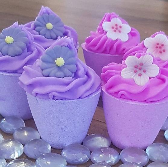 Flower Pot Bath Bombs - 3x Pink - 3x Purple Approx 900g