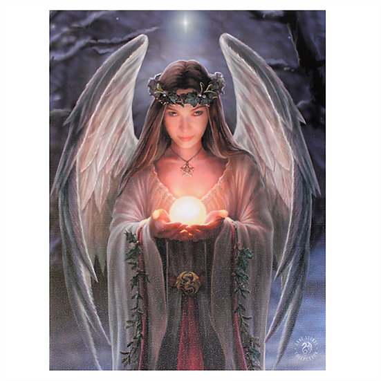 Yule Angel Canvas Plaque by Anne Stokes