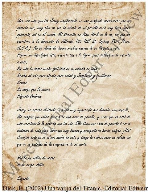 Carta de Edgar Andrew a Josey Cowan comp