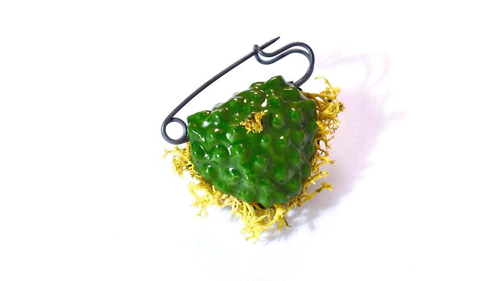 Egg Waffle Brooch - Green
