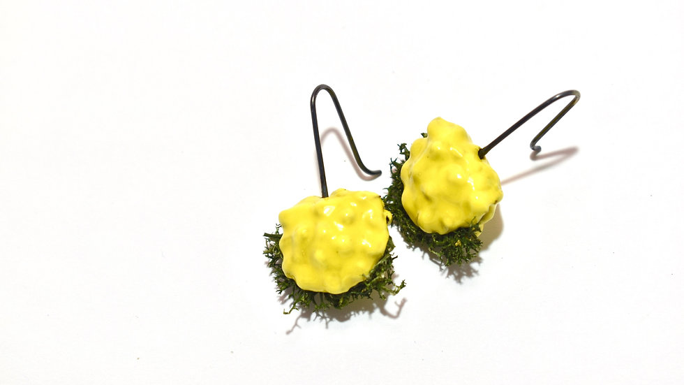 Egg Waffle Earrings - Yellow