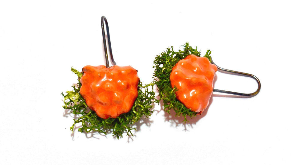 Egg Waffle Earrings - Orange